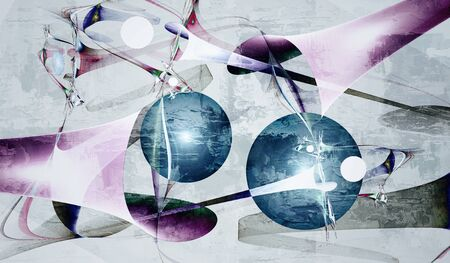 Abstract image with a whimsical pattern of bright colors and a circle in the art Nouveau style on a light background. 写真素材