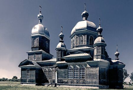 Partially restored and functioning old Orthodox old believer Church in a small village of Russia. Foto de archivo - 134655257