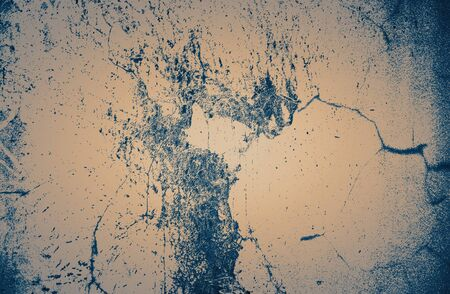 Concrete surface with cracks and splashes. Background image, tinted, duotone.