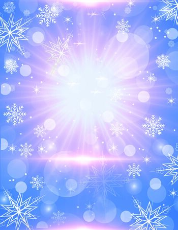 Beautiful blue and pink Christmas background - snowflakes, stars,lights Foto de archivo - 134592870