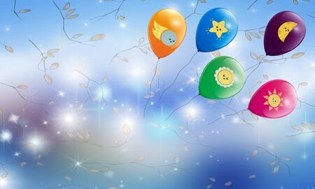 Festive background: colorful balloons with funny emblems and leaves on a sparkling blue background. Фото со стока