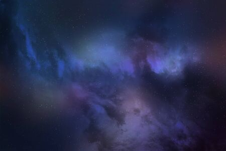 The Universe: the starry sky, a bright star, nebula and a planet surrounded by a glowing atmosphere. Banco de Imagens