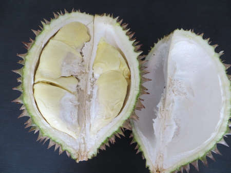 Indonesian fruit durian, the edible flesh emits a distinctive odour that is strong and penetrating even when the husk is intact.