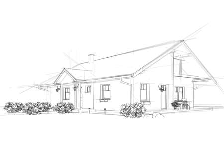 modern house exterior: Illustation of a house. Black ink drawing. Stock Photo