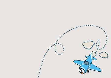 airplane cartoon: Illustration of blue airplane with beige clouds