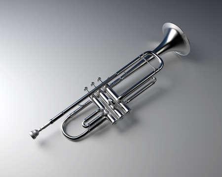 Silver trumpet with gradient background. Jazz  music instrument. Standard-Bild