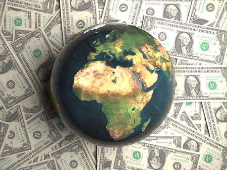 Earth lying on money photo