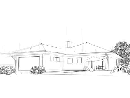 facade and house: Illustation of a house. Black ink drawing. Stock Photo