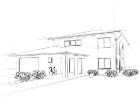 architect plans: Illustation of a house. Black ink drawing. Stock Photo