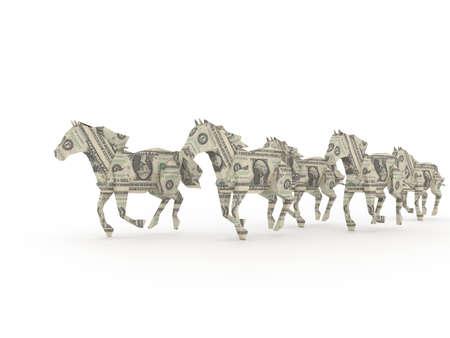 power of money: Dollar horses symbolizing the power of money Stock Photo