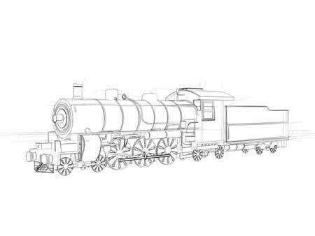 cad drawing: Illustation of a steam locomotive  Black ink drawing