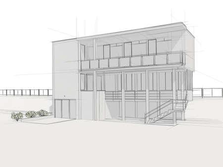 Illustation of a house  Black ink drawing  Standard-Bild