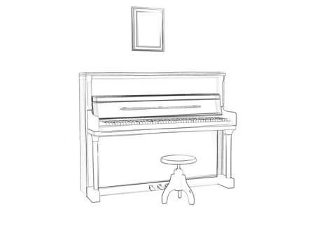 Illustation of a piano  Black ink drawing