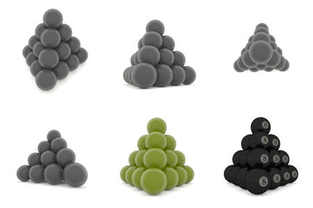 pyramid of metal balls on a white background
