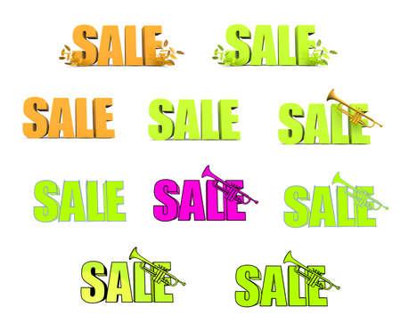 Lot of green and orange 3d sale symbols