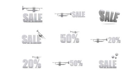 Lot of gray metalic 3D sale and discount symbols  Standard-Bild