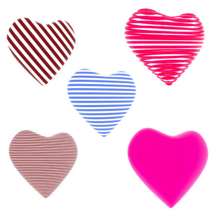 Lot of red, blue striped hearts isolated on white background