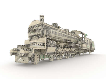 old train: Dollar steam engine symbolizing the power of money