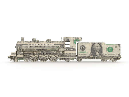 Dollar steam engine symbolizing the power of money photo