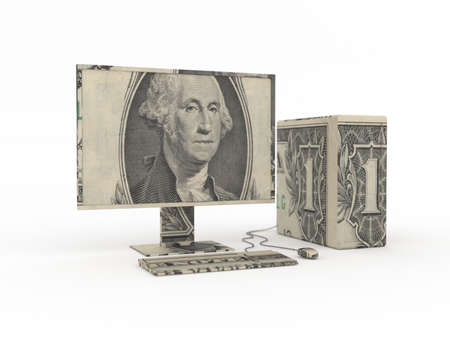 Computer origami made from dollar bills Standard-Bild
