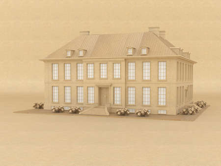 Model of a victorian house made from recycled paper Standard-Bild