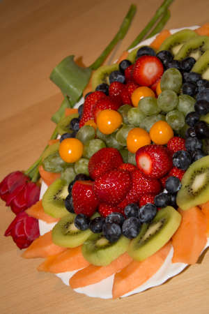 freshly: A freshly made fruit plate on the table