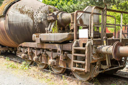 disused: An old train on a disused tracks