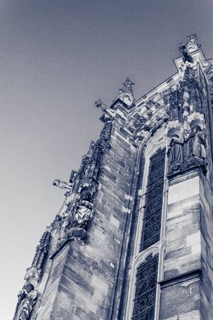individual elements of a catholic cathedral shot through an infrared filter