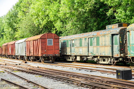 Various rusted wagons and train on the tracks at the lost railway station Sajtókép