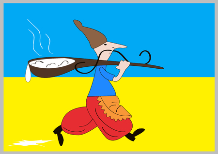 Kozak Ukraine. Ethnic soldier of Ukraine with spoon Illustration