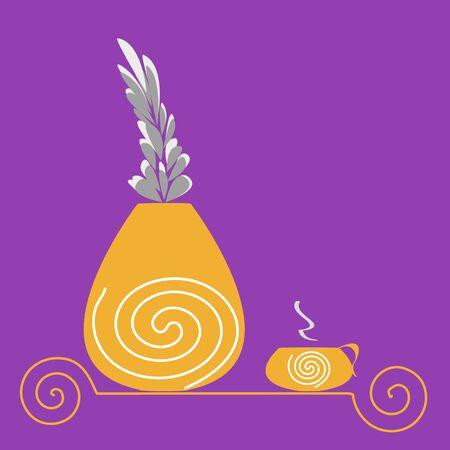good cheer: purple morning ,vase, flowers, illustration, postcard