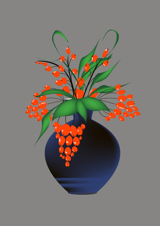 viburnum: vase flowers illustration viburnum