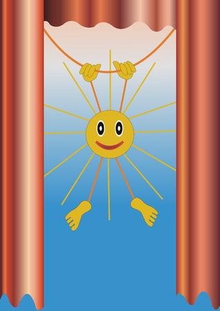 good cheer: blue background window sun summer illustration of the positive