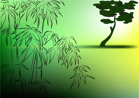 long term: bamboo on a green background ,in the long term solitary tree Illustration