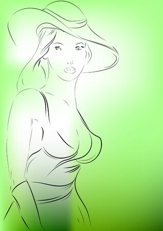 pale green: Beautiful woman in hat on pale green background Illustration