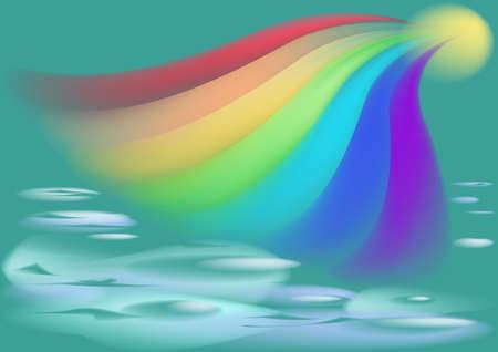 azure: Beautiful rainbow plays in the azure sea Illustration
