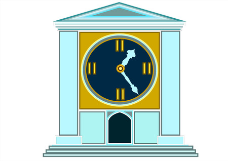 large house: The ticking clock in the form of a large house with columns