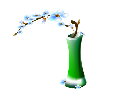 springtime: Green vase with blossoming cherry branches. Springtime Illustration