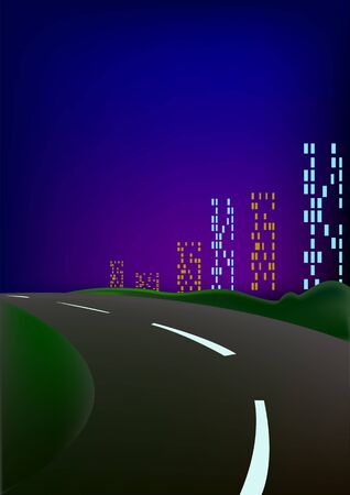 tall buildings: The night city, highways, tall buildings with windows and bright blue sky