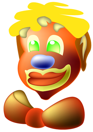 buffoon: Funny clown with a bow, green eyes and blue nose Illustration