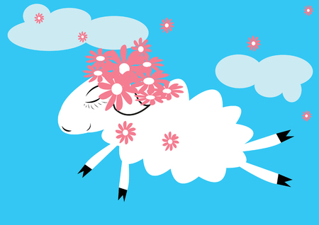 image lamb: Sheep in the sky with a wreath of pink flowers on her head