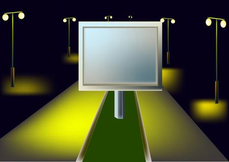 illuminate: Billboard is on the highway, street lights illuminate the night
