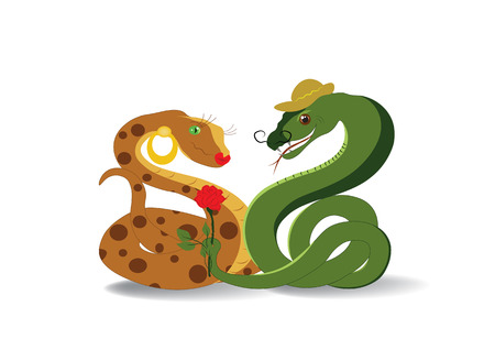 anaconda: Snake - the seducer with a flower and his beloved