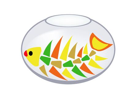 inedible: In an aquarium without water is fish skeleton. humor