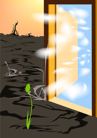 rushed: Clean air rushed through the open door and gave new life to a dead land.Ecology Illustration
