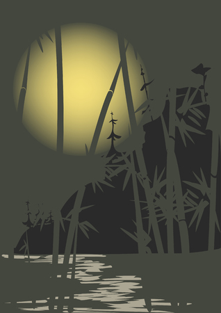 stalks: Stalks of bamboo on a background of mountains and the moon