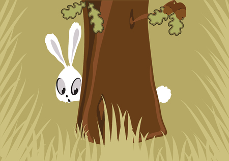 hid: Hare in the forest hid himself behind a tree and high grass