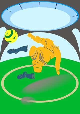 hits: Arena stadium. Football player hits the ball in jump Illustration