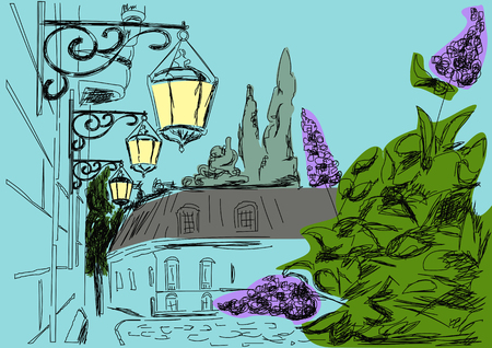 illuminate: City landscape in the evening. Vintage lamps illuminate the street, lilac blossoms Illustration
