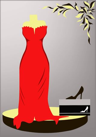 evening dress: The red evening dress and black high-heeled shoes